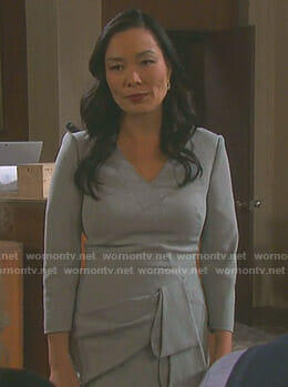 Melinda Trask's grey v-neck dress with folded waist on Days of our Lives