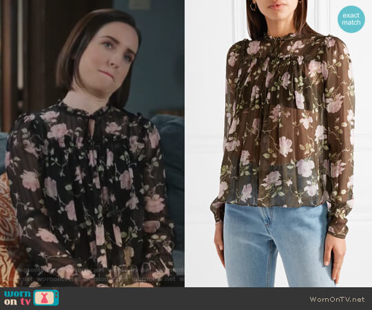 Petunia floral-print silk-crepon blouse by Ulla Johnson worn by Zoe Lister-Jones on Life in Pieces