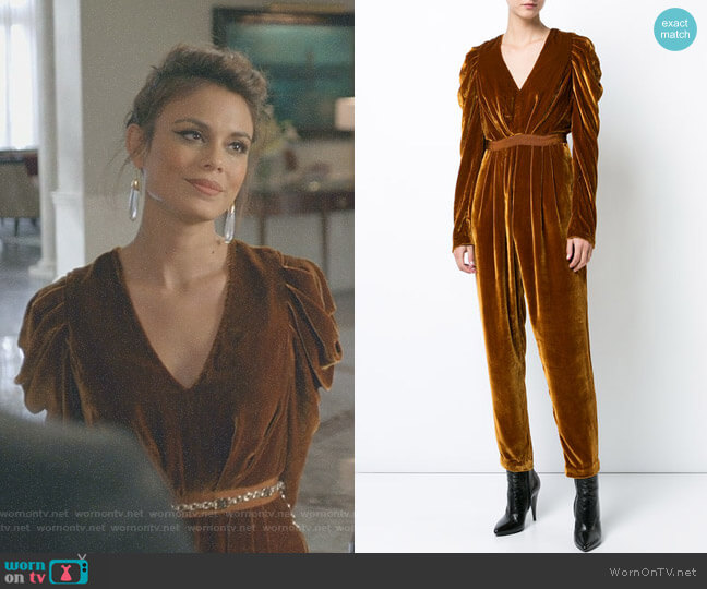 'Sabine' Jumpsuit by Ulla Johnson worn by Cristal Flores (Nathalie Kelley) on Dynasty