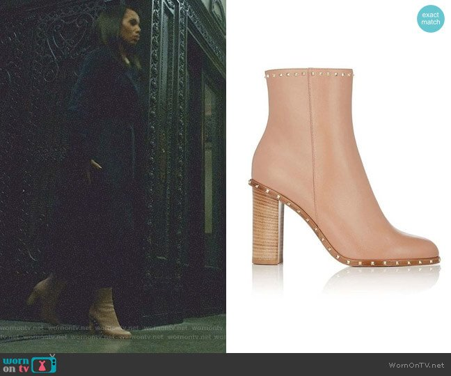 Rockstud Leather Ankle Boots by Valentino  worn by Kerry Washington on Scandal