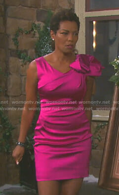 Valerie's pink satin bow shoulder dress on Days of our Lives