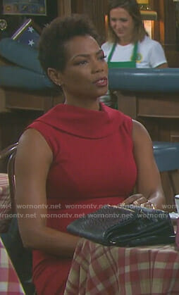 Valerie's red sleeveless dress on Days of our Lives
