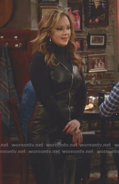 Vanessa's black leather zip front dress on Kevin Can Wait