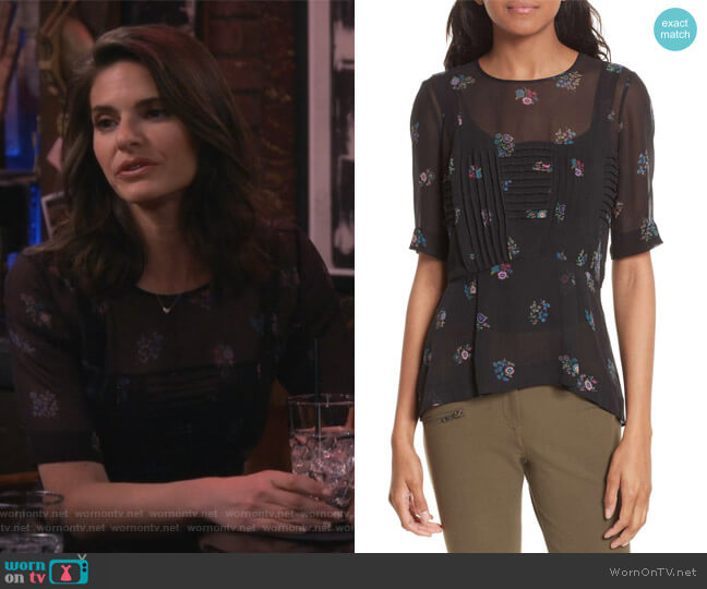 Braden Print Silk Top by Veronica Beard worn by Lindsey Kraft on Living Biblically