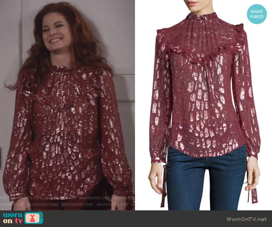 Brooks blouse by Veronica Beard worn by Debra Messing on Will & Grace