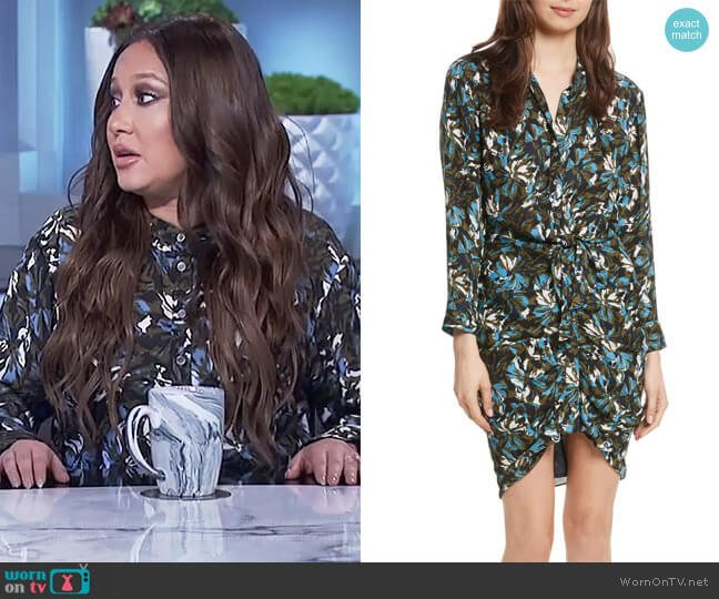 Georgina Floral Print Silk Dress by Veronica Beard worn by Adrienne Houghton (Adrienne Houghton) on The Real