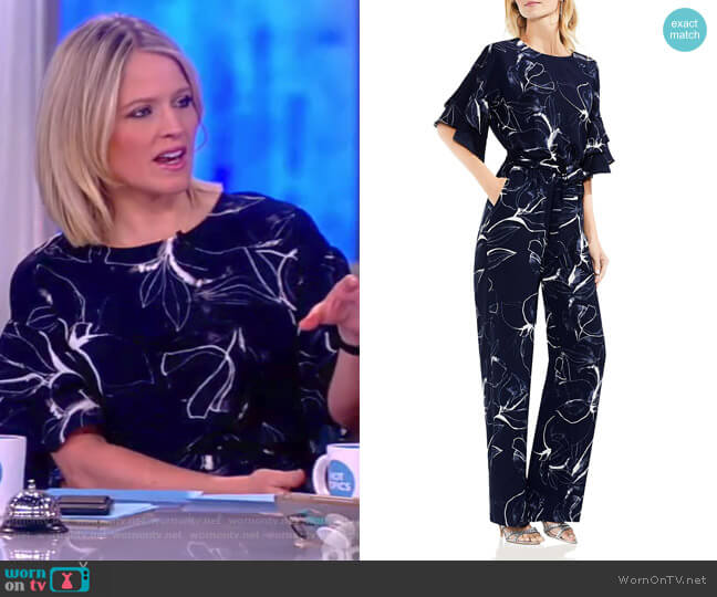 Ruffle-Sleeve Jumpsuit by Vince Camuto worn by Sara Haines on The View