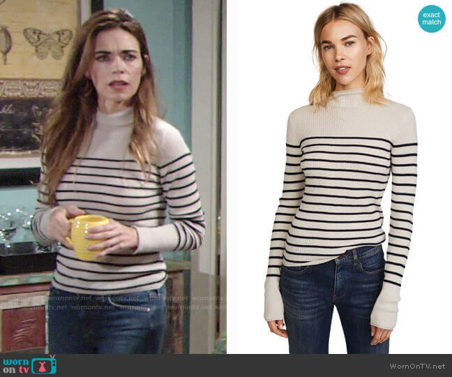 Vince Striped Roll Edge Mock Pullover worn by Victoria Newman (Amelia Heinle) on The Young & the Restless
