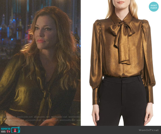 Lucifer Boo Normal: WornOnTV: Charlotte's Metallic Tie Neck Blouse On Lucifer