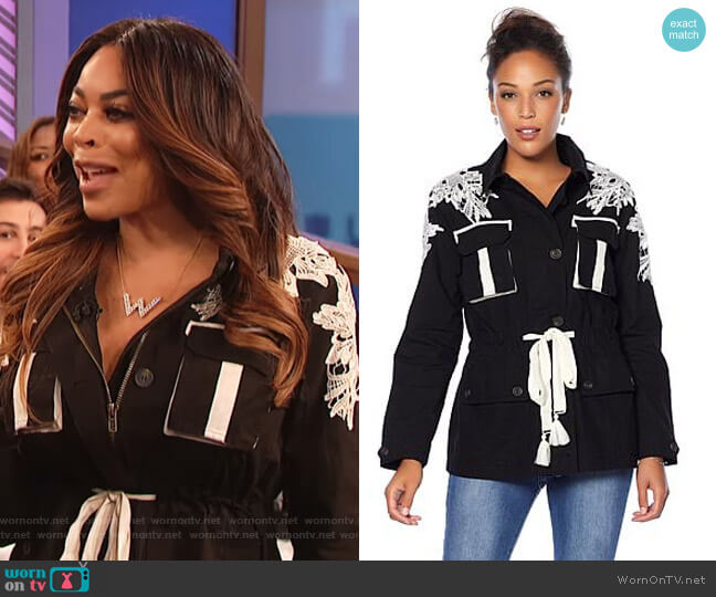 Military Jacket with Lace Detail by Wendy Williams HSN Collection worn by Wendy Williams on The Wendy Williams Show