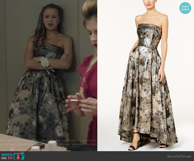 Strapless Brocade Ballgown by Xscape worn by Samantha Hughes (Holly Barrett) on Life in Pieces