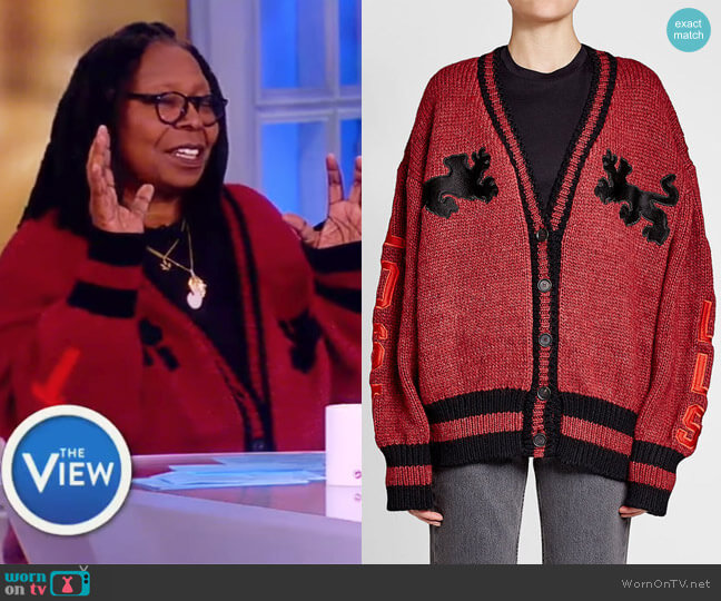 Varsity Cardigan with Wool by Yeezy worn by Whoopi Goldberg on The View