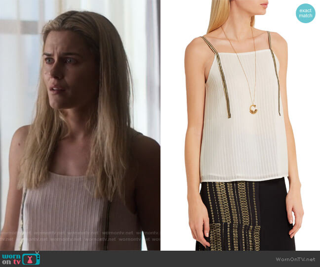 Cutout metallic-trimmed silk camisole by Zeus + Dione worn by Trish Walker (Rachael Taylor) on Jessica Jones