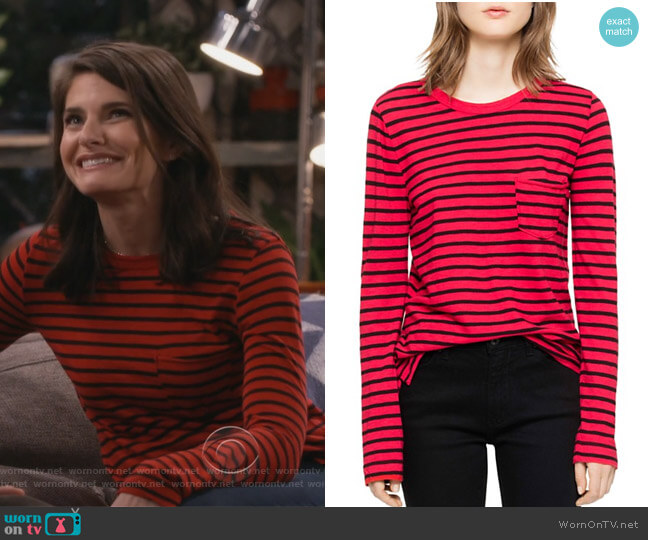 Reja Striped Long-Sleeved Tee by Zadig & Voltaire worn by Leslie Curry (Lindsey Kraft) on Living Biblically