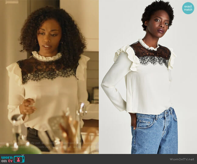 Contrast Blouse by Zara worn by Anissa Pierce (Nafessa Williams) on Black Lightning