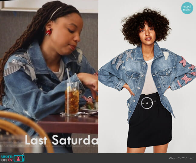 Denim Jacket with Bows by Zara worn by Jazlyn Forster (Chloe Bailey) on Grown-ish