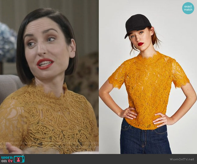 Embroidered Lace Top byu Zara worn by Zoe Lister-Jones on Life in Pieces