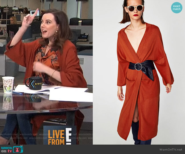 Long Kimono Cardigan by Zara worn by Melanie Bromley on E! News
