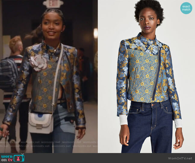 Patchwork Jacket by Zara worn by Yara Shahidi on Grown-ish