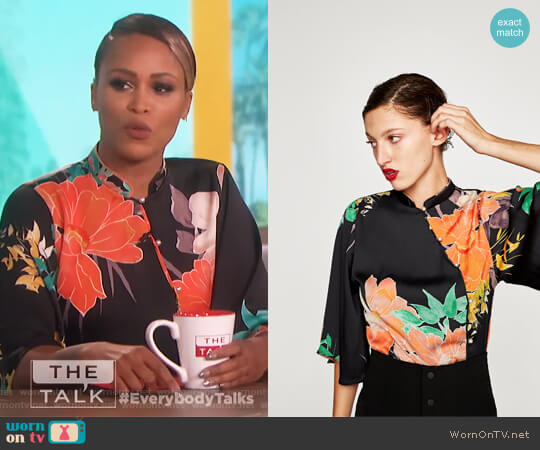 Printed Bodysuit by Zara worn by Eve on The Talk