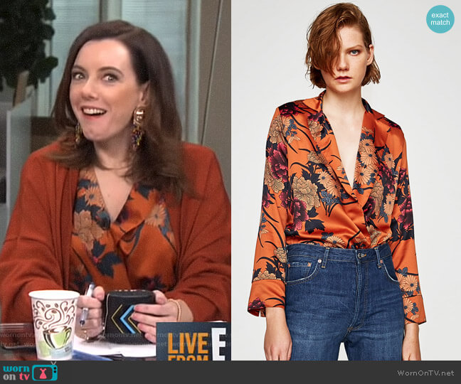 Printed Sateen Bodysuit by Zara worn by Melanie Bromley on E! News