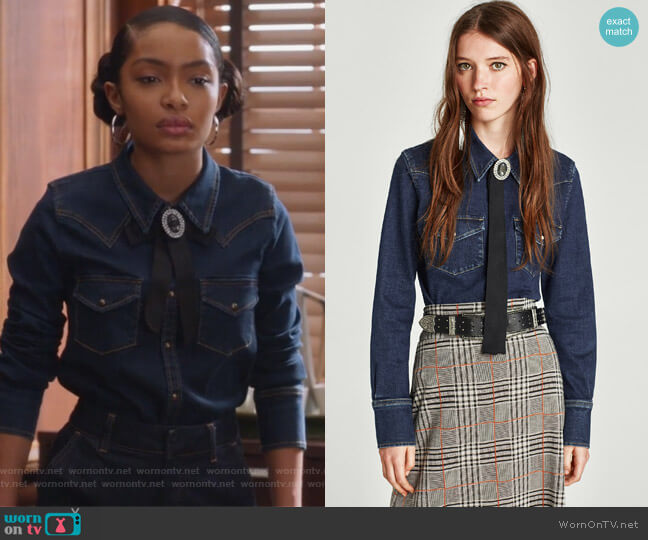Slim Fit Western Denim Shirt by Zara worn by Zoey Johnson (Yara Shahidi) on Grown-ish