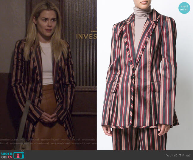 Striped Blazer by Zimmermann worn by Rachael Taylor on Jessica Jones