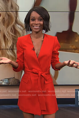Zuri's red wrap blazer dress on E! News