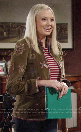 Abby's bee embroidered jacket on The Young and the Restless