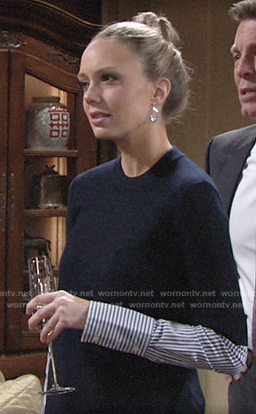 Abby's navy layered sweater on The Young and the Restless