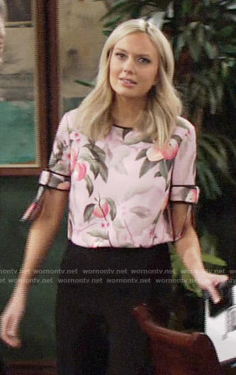 Abby's pink peach print top on The Young and the Restless