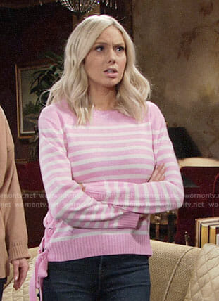 Abby's pink striped sweater with lace-up side on The Young and the Restless