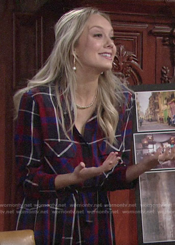 Abby's plaid maxi shirtdress on The Young and the Restless