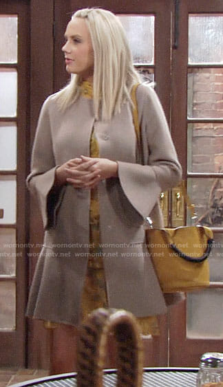 Abby's taupe flared coat and yellow bag on The Young and the Restless