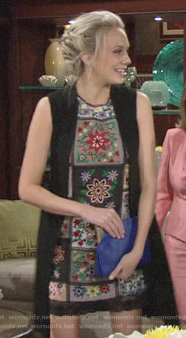 Abby's floral patchwork shift dress on The Young and the Restless