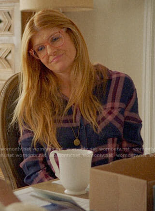 Abby's navy and pink plaid shirt on 9-1-1