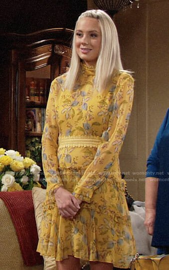 Abby's yellow floral long sleeved dress on The Young and the Restless