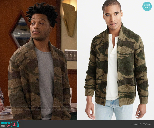 Abercrombie Shawl Cardigan in Olive Camo worn by Franco Wicks (Jermaine Fowler) on Superior Donuts