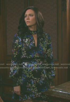 Abigails's black floral keyhole dress on Days of our Lives