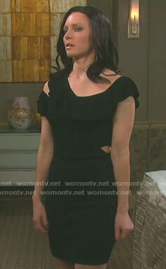 Abigail's black ruffled cutout dress on Days of our Lives
