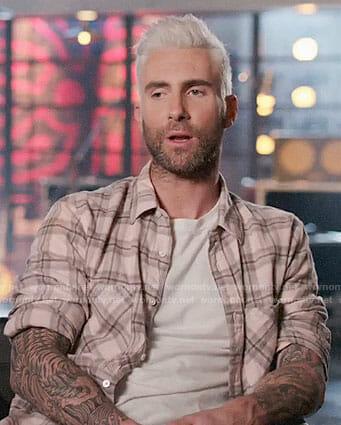 Adam Levine's pink plaid shirt on The Voice