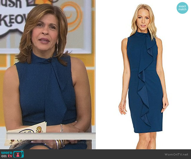 Knit Crepe Mock Neck Sheath Dress by Adrianna Papell worn by Hoda Kotb on Today