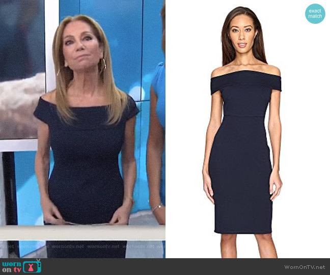 Off Shoulder Color Block Fitted Dress by Adrianna Papell worn by Kathie Lee Gifford on Today