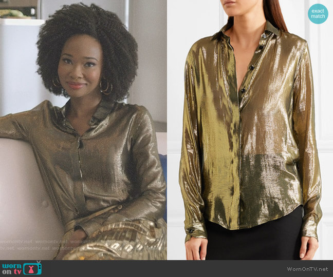 Metallic Silk-Blend Lamé Shirt by Saint Laurent worn by Wakeema Hollis on Dynasty