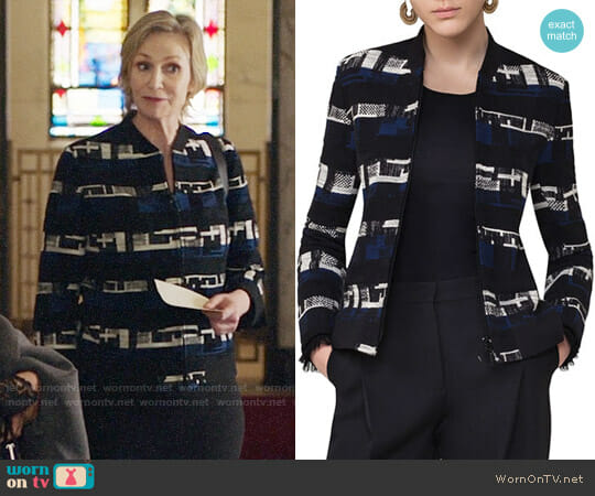 Akris Punto Zip-Up Tweed Bomber Jacket worn by Jane Lynch on The Good Fight