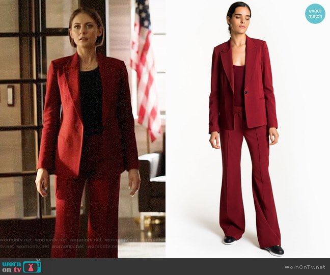ALC Duke Blazer and Lawrence Pants worn by Willa Holland on Arrow