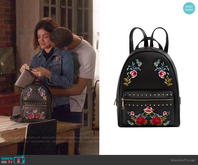 Aldo Dare Embroidered Backpack worn by Lucy Hale on Life Sentence