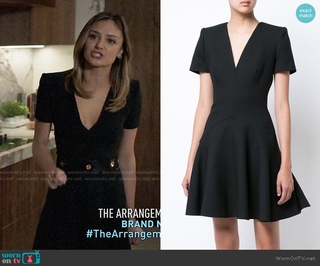 Alexander McQueen V-neck Flared Mini Dress worn by Christine Evangelista on The Arrangement
