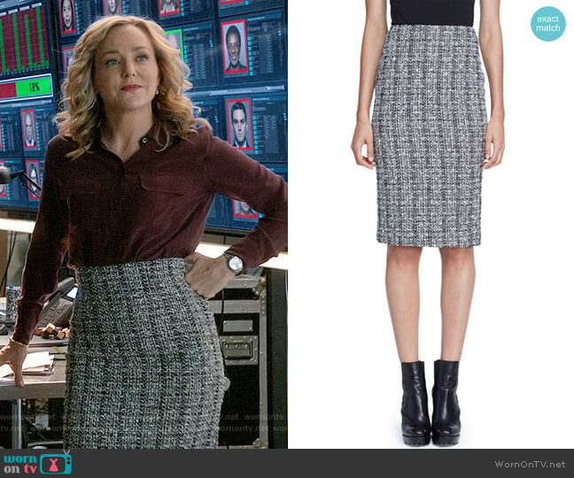 Alexander McQueen Lightweight Tweed Pencil Skirt worn by Geneva Carr on Bull