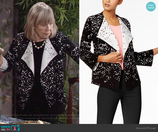 Alfani Printed Colorblocked Cardigan worn by Marla Adams on The Young & the Restless